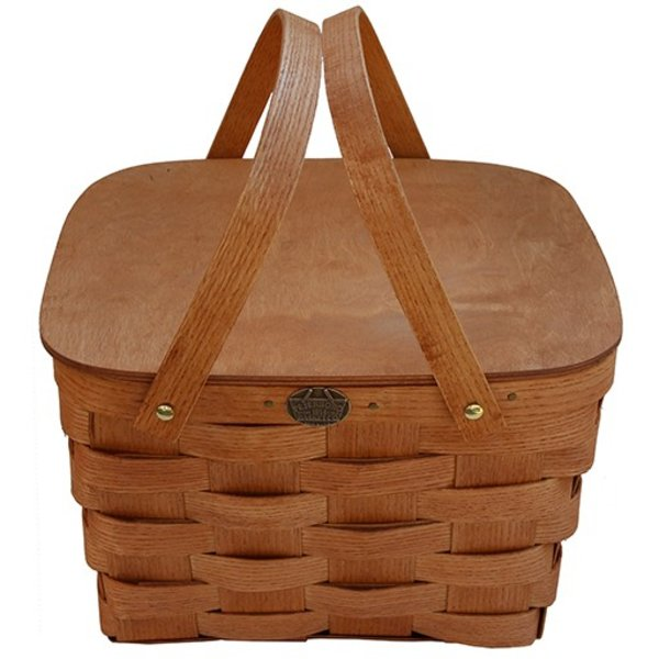 Peterboro 2 Pie Basket with Solid Lid and Tray - Honey