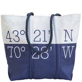 Sea Bags Custom Daytrip Society Coordinates Tote - Navy Handle - Medium