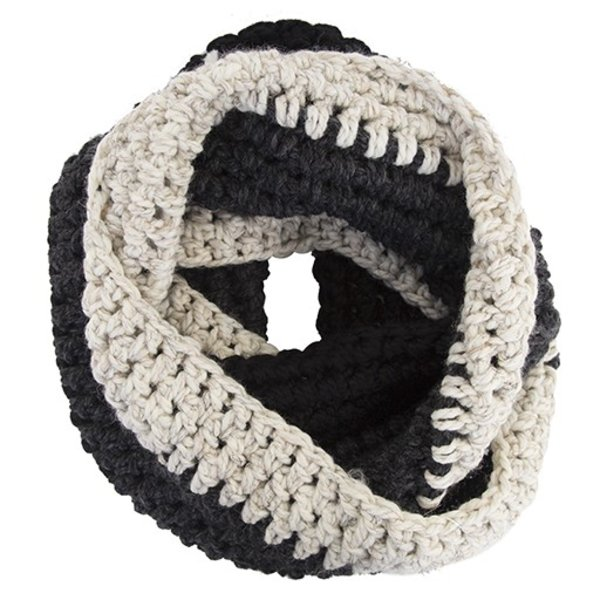 KraeO Abington Warmer Infinity Scarf - Black/Charcoal/Wheat
