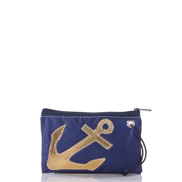 Sea Bags Wristlet - Gold Anchor on Navy