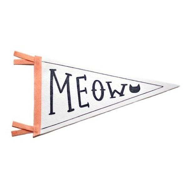Strawberry Moth Wool Pennant Flag - Meow