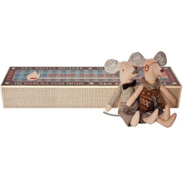 Maileg Mouse - Grandpa & Grandma In Matchbox