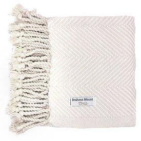 Brahms Mount Monhegan Throw 100% Cotton - Natural & White