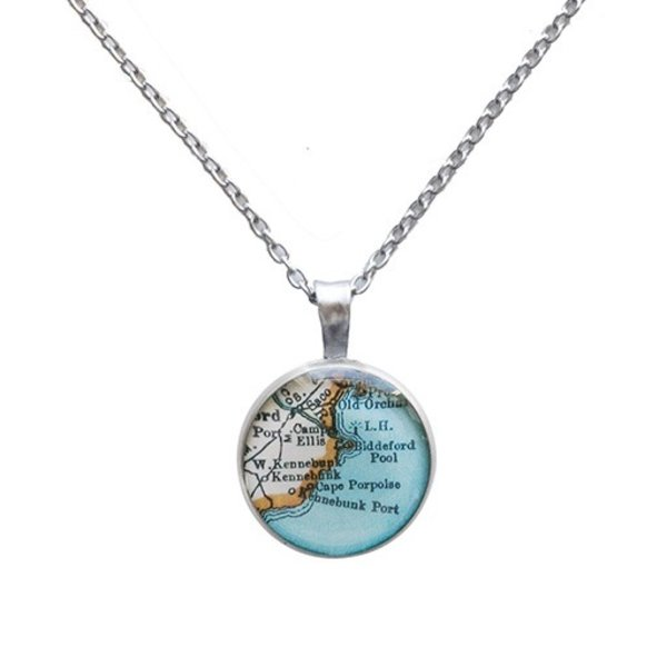 Chart Metalworks Necklace - Vintage Maine Map - Piccolo - Pewter