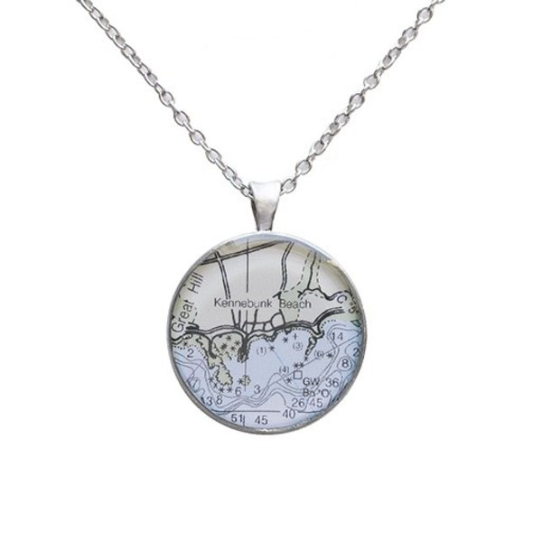Chart Metalworks Necklace - Kennebunk Beach - Medio - Pewter