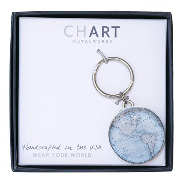 Chart Metalworks Key Ring - Vintage World Map - Pewter