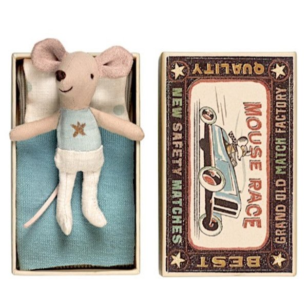 Maileg Mouse - Little Brother in Box - Gold Star Shirt