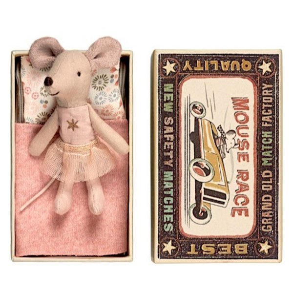 Maileg Mouse - Little Sister in Box - Gold Star Shirt/Tutu