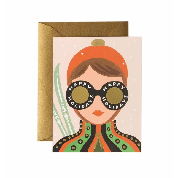 Rifle Paper Co. Card - Ski Girl Holiday