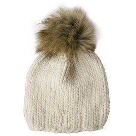 Betty Louise Studio Chunky Solid Hat - Ivory - White with Brown Faux Fur Pom Pom