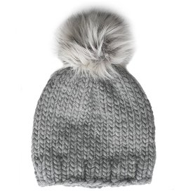 Betty Louise Studio Chunky Solid Hat - Grey - White with Grey Faux Fur Pom Pom