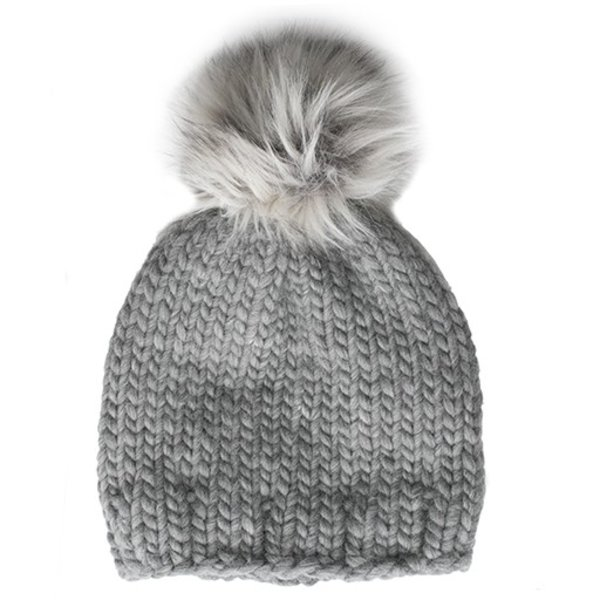 Betty Louise Studio Chunky Solid Hat - Grey - White with Grey Faux Fur Pom Pom