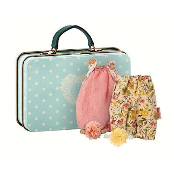 Maileg Micro Suitcase with 2 Dresses for Girl