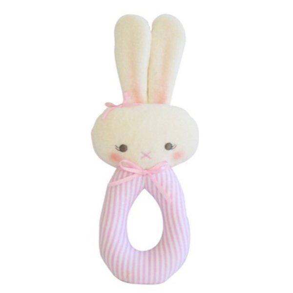 Alimrose Bunny Grab Rattle - Pink Stripe
