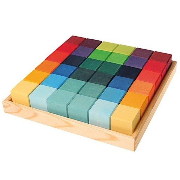 Grimms 36 Square Cubes - Rainbow