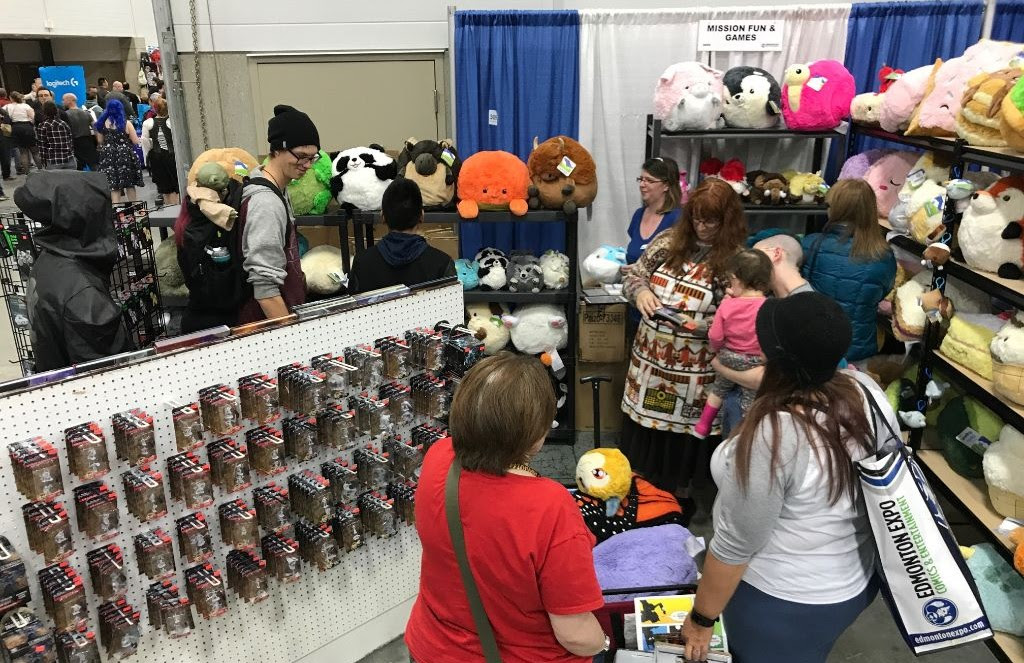 Our collection of Squishables could barely fit on the shelves of the new booth.