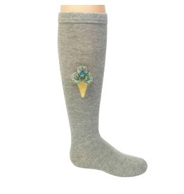 Blinq Blinq Ice Cream Grey Knee Socks