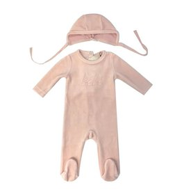 Bee & Dee Bee & Dee Bebe Velour Blush Footie And Bonnet Set