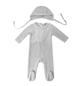 Bee & Dee Bee & Dee Bebe Velour Grey Footie And Bonnet Set
