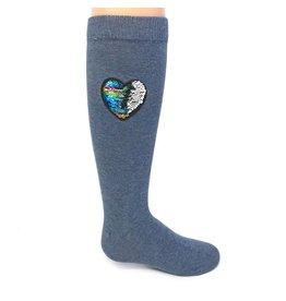 Memoi Reversible Sequin Heart Knee Socks MKF-7019