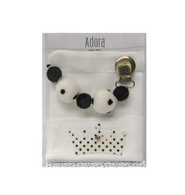Adora Adora Black Crown Hat And Pacifier Clip Baby Gift Set