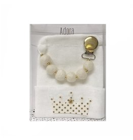Adora Adora Gold Crown Hat And Pacifier Clip Baby Gift Set