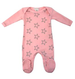 Coton PomPom Coton PomPom Silver Stars Pink Footie