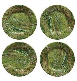 Juliska Firenze Marbleized Cocktail Plate - Pistachio - Set of 4