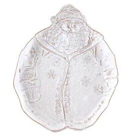 Vietri Bellezza Holiday Santa Salad Plate - White