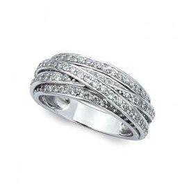 Crislu Crisscross Band Ring- Size 7