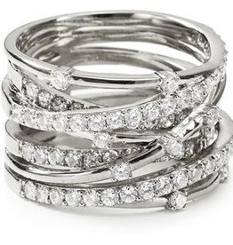 Crislu Entwined Platinum and CZ Ring -  Size 8