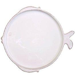 Vietri Lastra Fish Salad Plate - White