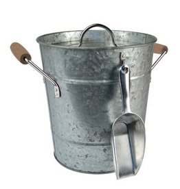 """Galvanized ice Bucket w/Scoop - 10""""D x 9""""H"""