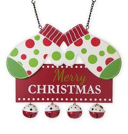 """Merry Christmas w/Mittens and Bells Entrance Hanger - 11""""H x 13.5""""L x 1""""W"""