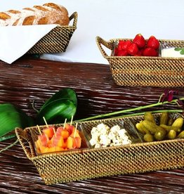 Calaisio Woven Reed Rectangular Tray for 2 Glass Dishes w/Handles