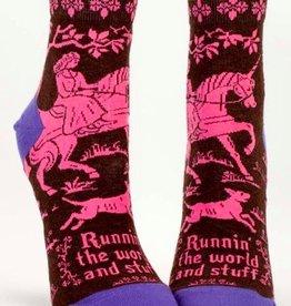 Runnin' The World Crew Socks - Unicorn
