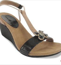 Lindsay Phillips Megan Platform Wedge Sandal - Black - Size 8