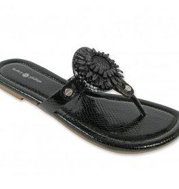 Lindsay Phillips Rosie Sandal - Black Snakeskin - Size 10