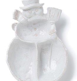 Vietri Bellezza Holiday Snowman 3 Part Server - White