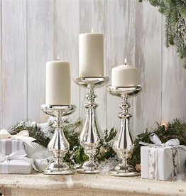 Silver Mercury Pillar Candle Holder - 11""