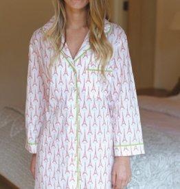 Paris Pink Cotton Sleep Shirt - S