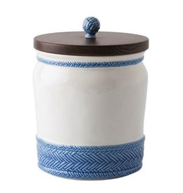 """Juliska Le Panier White/Delft Blue 7.5"""" Canister with Wooden Lid"""
