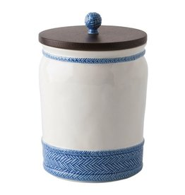 """Juliska Le Panier White/Delft Blue 10"""" Canister with Wooden Lid"""
