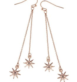 Chain Drop North Star Earrings