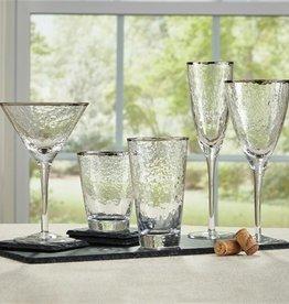 Metallic Rim Martini Glass- Silver
