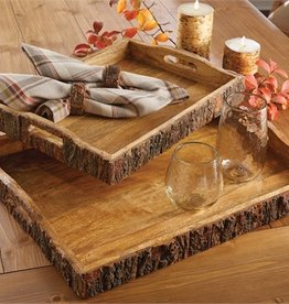 Wood with Bark Edge Tray - Large