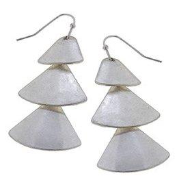 Linked Metal Fan Earrings - Silver