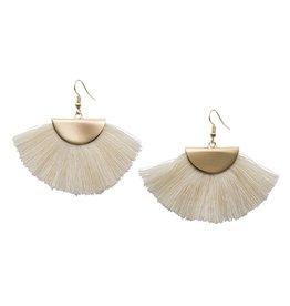 Gold Fan Tassel Earrings - Ivory