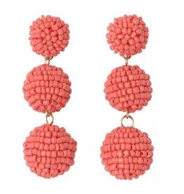 Seed Bead Ball Drop Earrings - Coral