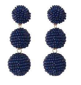Seed Bead Ball Drop Earrings - Navy